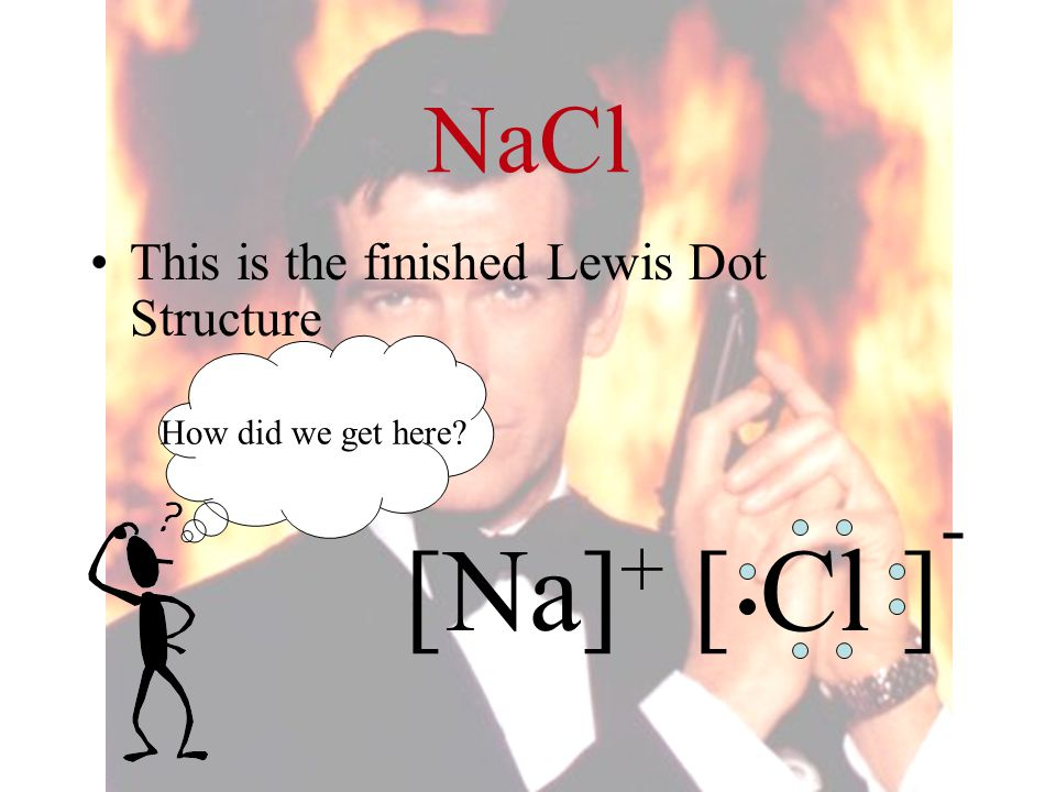 [Na]+ [ Cl ]- NaCl This is the finished Lewis Dot Structure